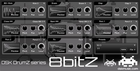 DSK DrumZ 8bitZ: free vst drum module