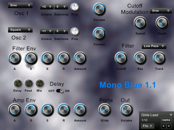 Mono Blue simple mono synth basses leads by Simon Larkin