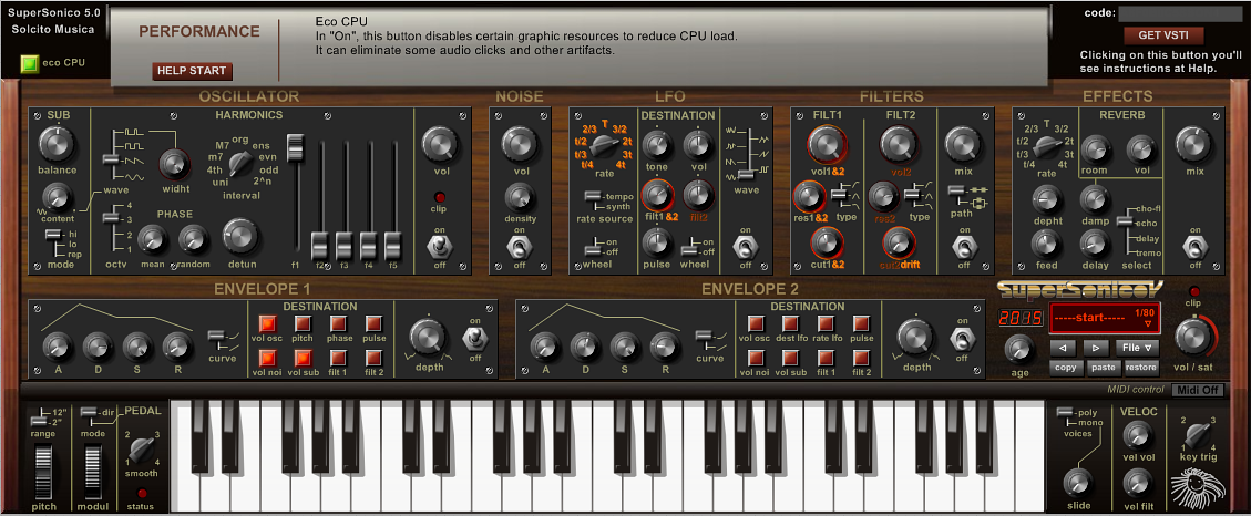 SuperSonico 5.0 - Virtual Analogue Synth with Harmonics Generator for Windows VST