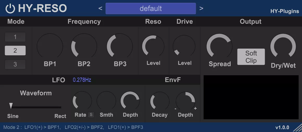 HY-Reso - Free Filter VST Effect Plug-in for Windows 32 - 64-bit